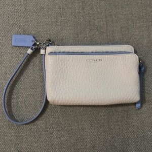 Authentic Coach Small Wristlet In white and blue